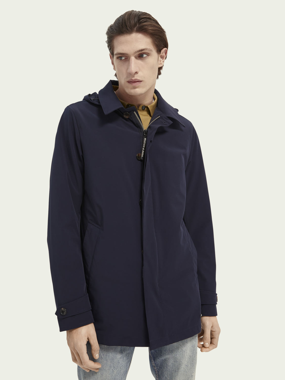 Men Stretch trench coat with removable hood