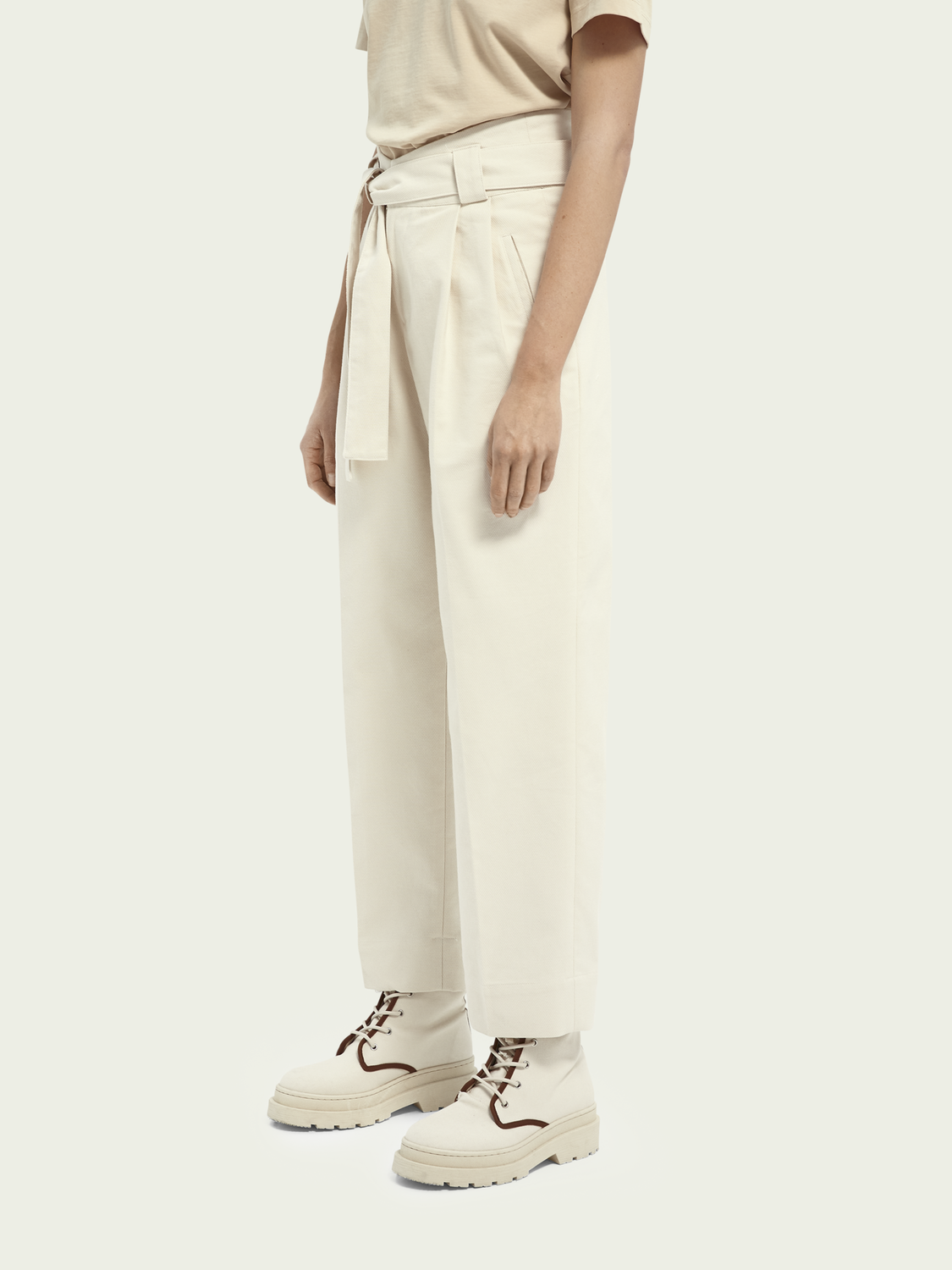 Women High-rise twill trousers - Ecru