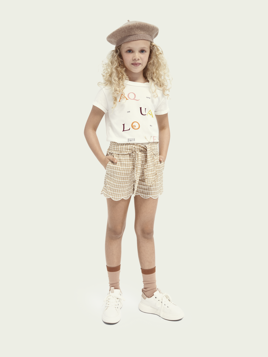 Kids Scalloped belted shorts