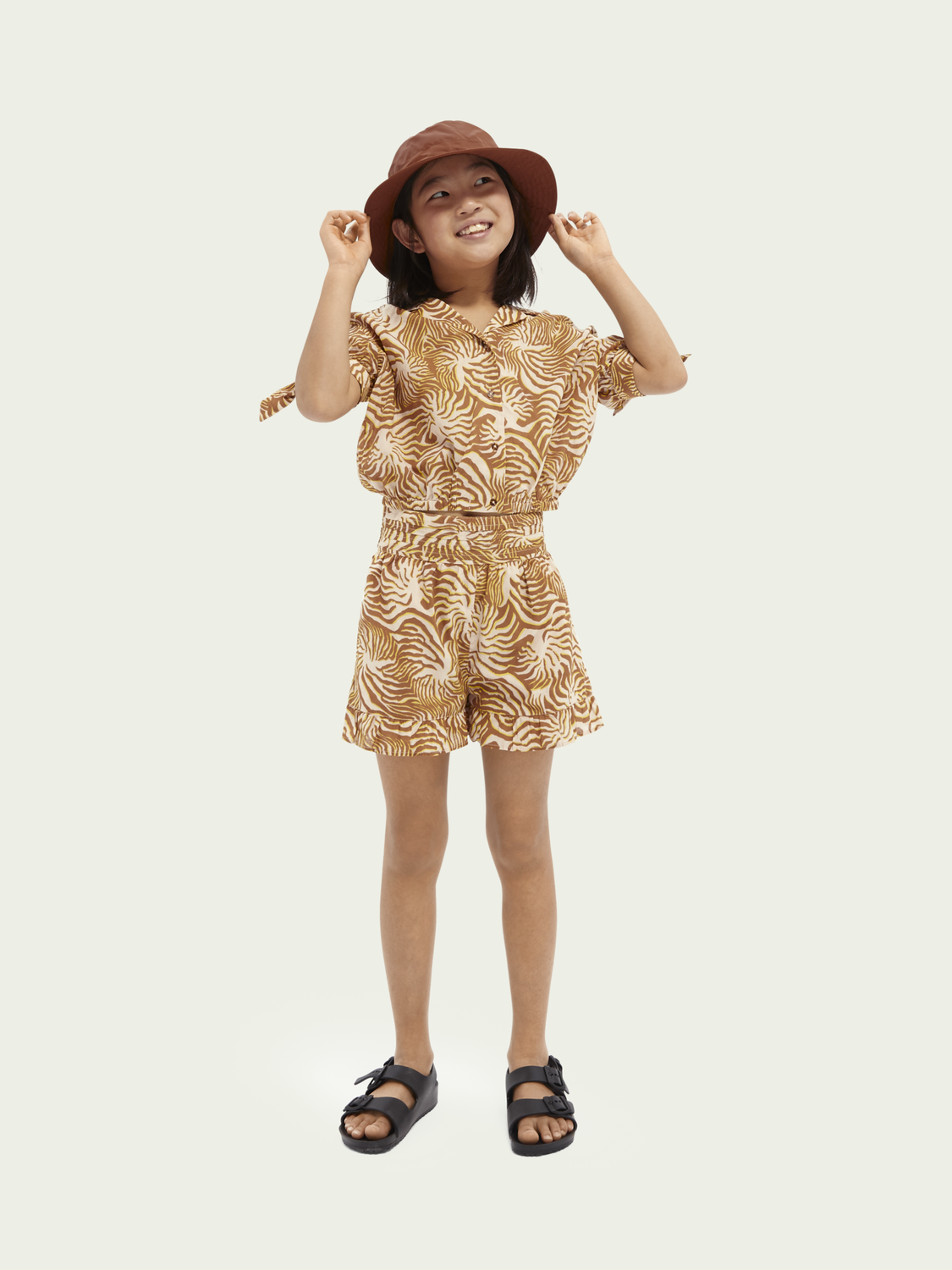 Kids Ruffled-hem cotton-blend shorts