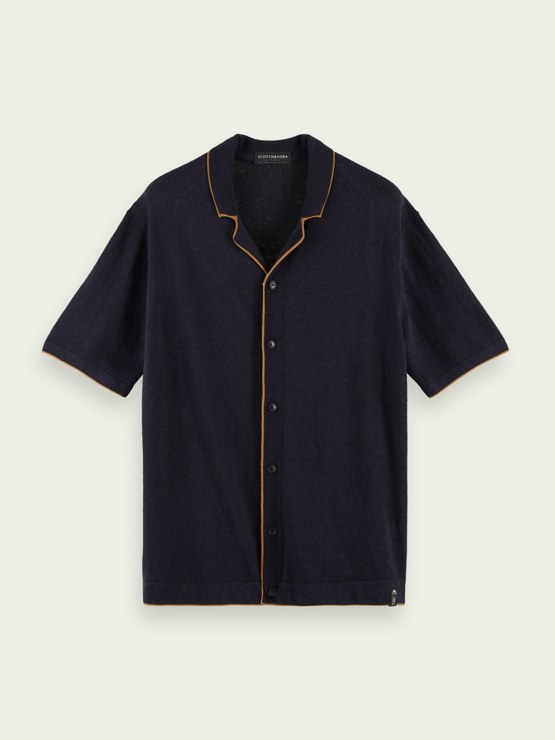 Men Linen-blend short-sleeved shirt
