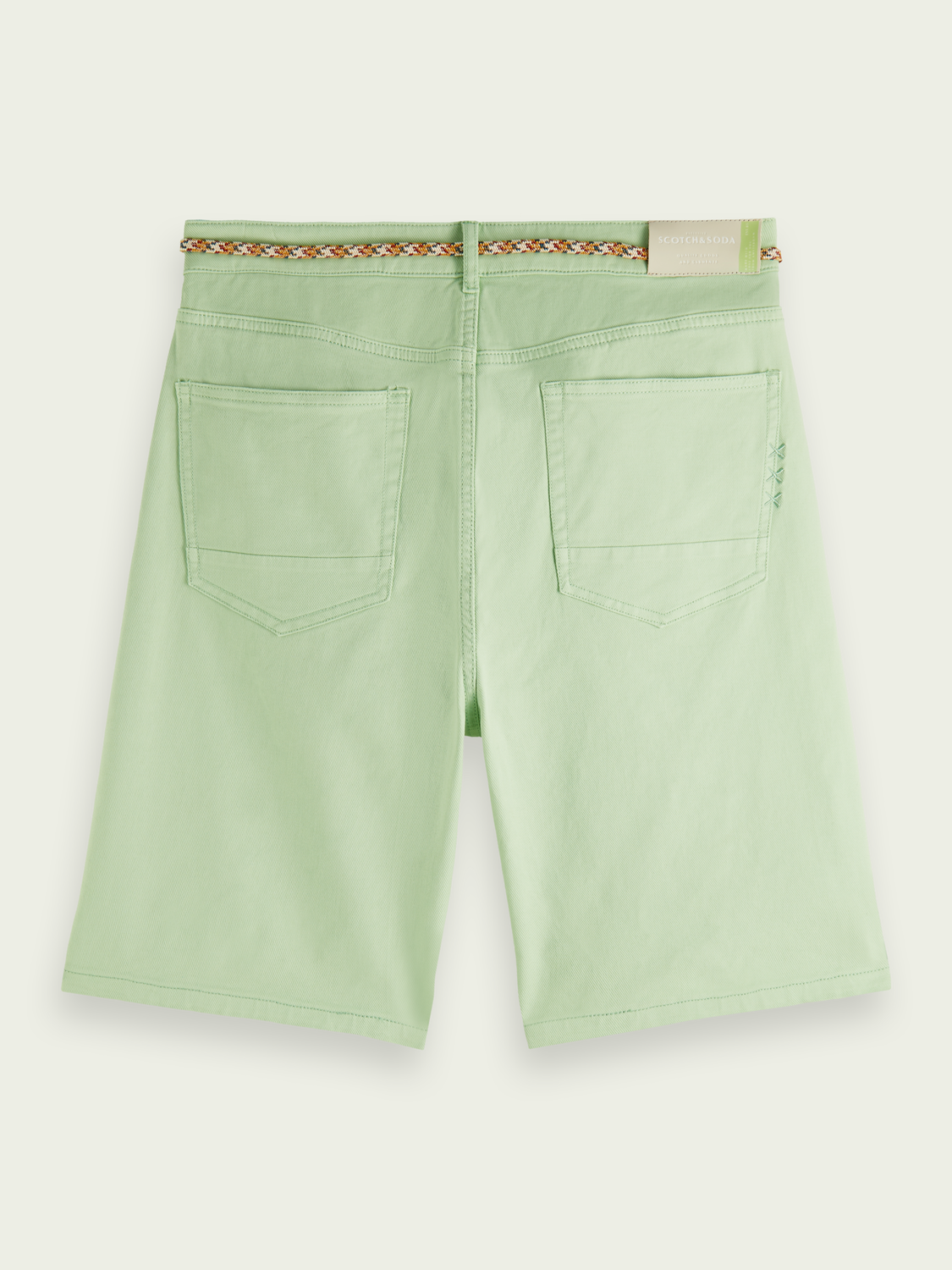 Men Garment-dyed 5-pocket twill short