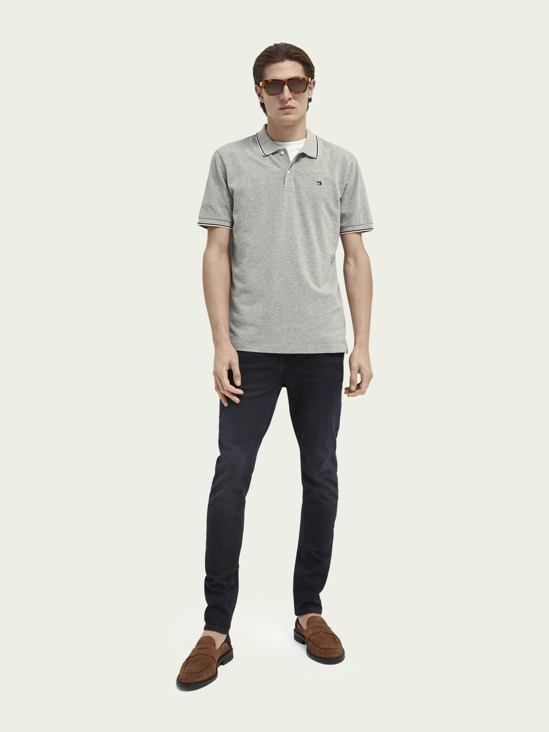 Men Melange piqué organic cotton polo