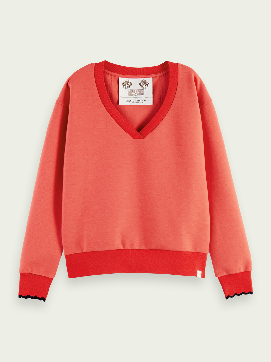 Women Scalloped cuffs V-neck sweater