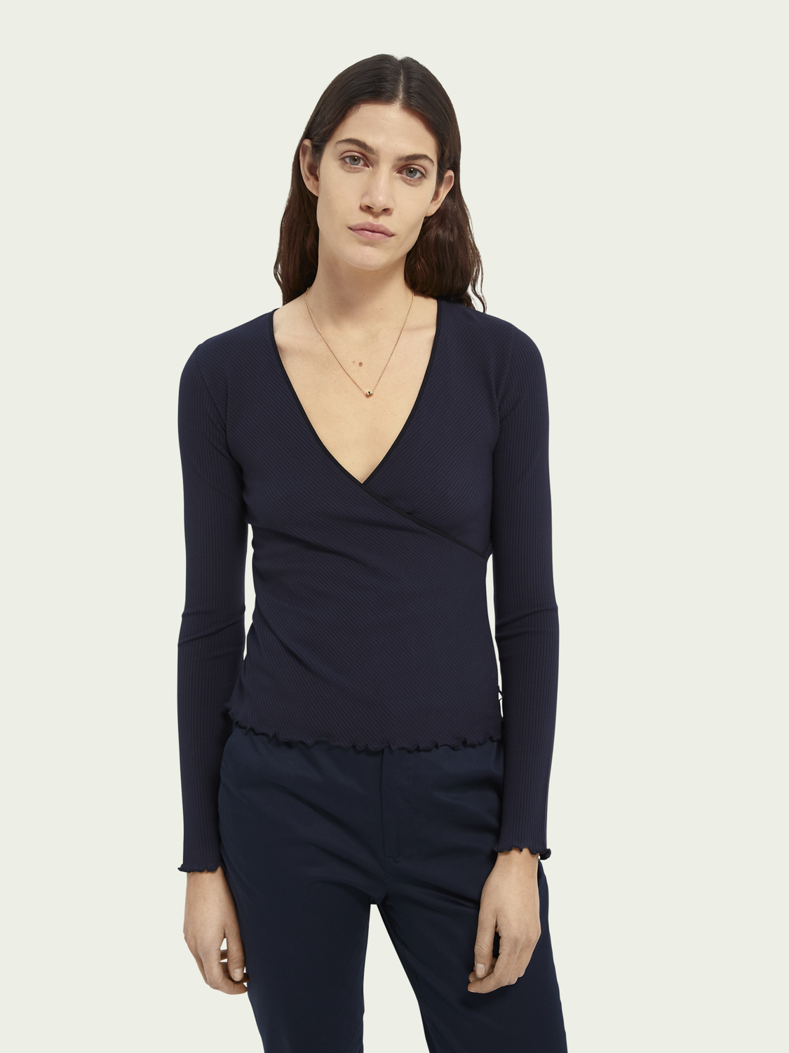 Women Rib jersey wrap top