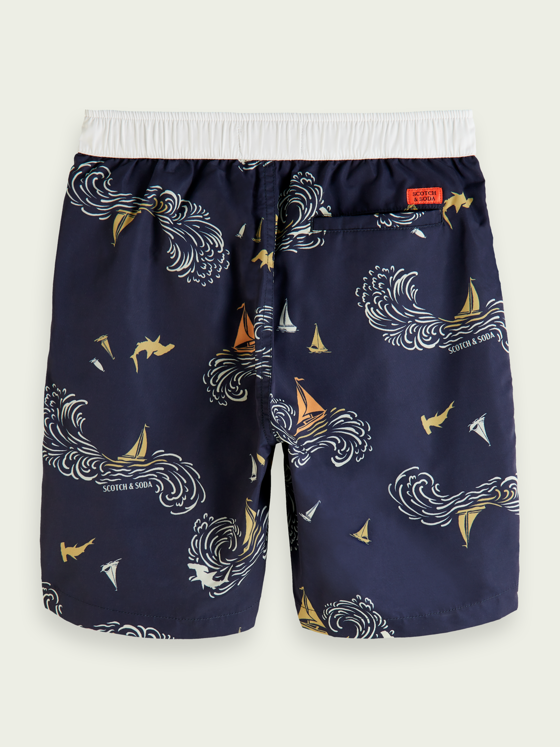 Kids Longer length printed recycled polyester swim shorts