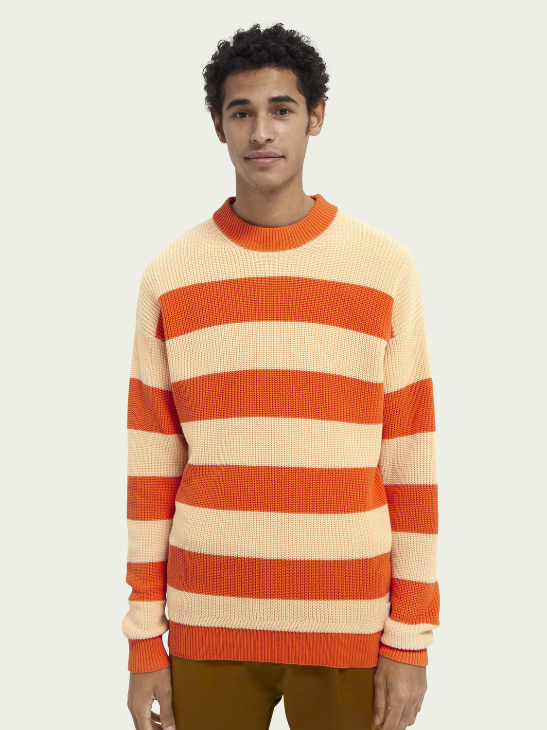 Men Block stripe rib knit sweater