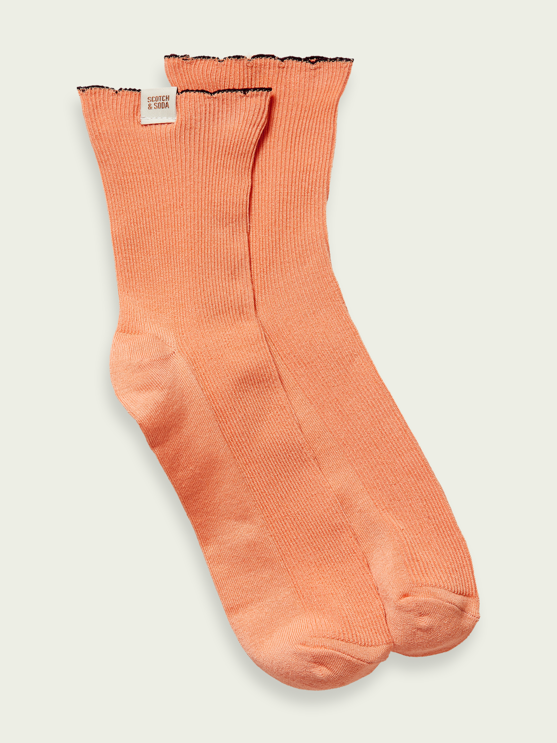 Women Scalloped edge cotton blend socks