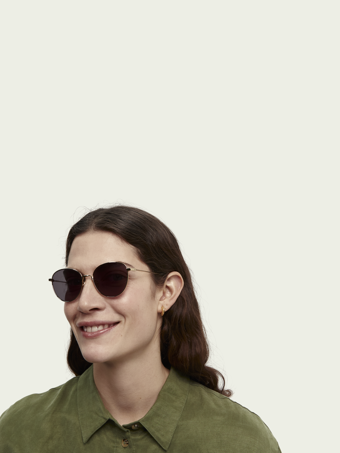 Women Yosemite - golden round-frame sunglasses
