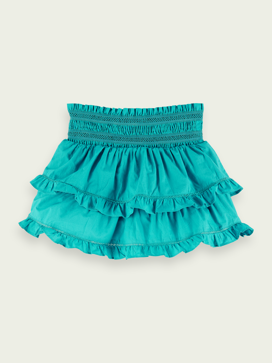 Kids Organic cotton ruffled short skirt - Deep Sea