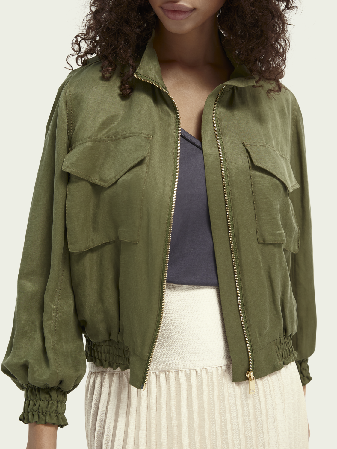 Women In-between linen-blend jacket