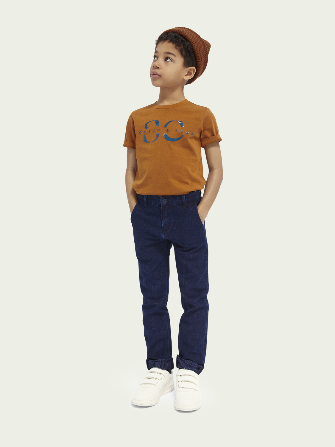 Kids Indigo cotton-linen chino