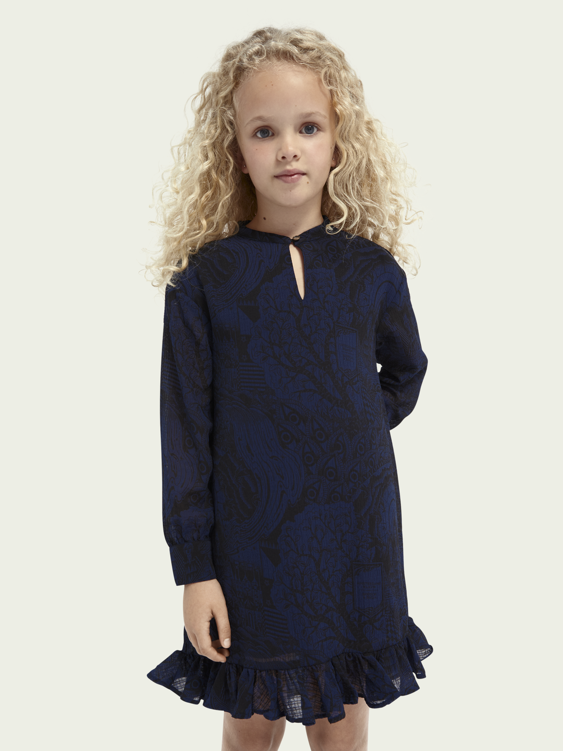 Kids Ruffle hem pattern dress