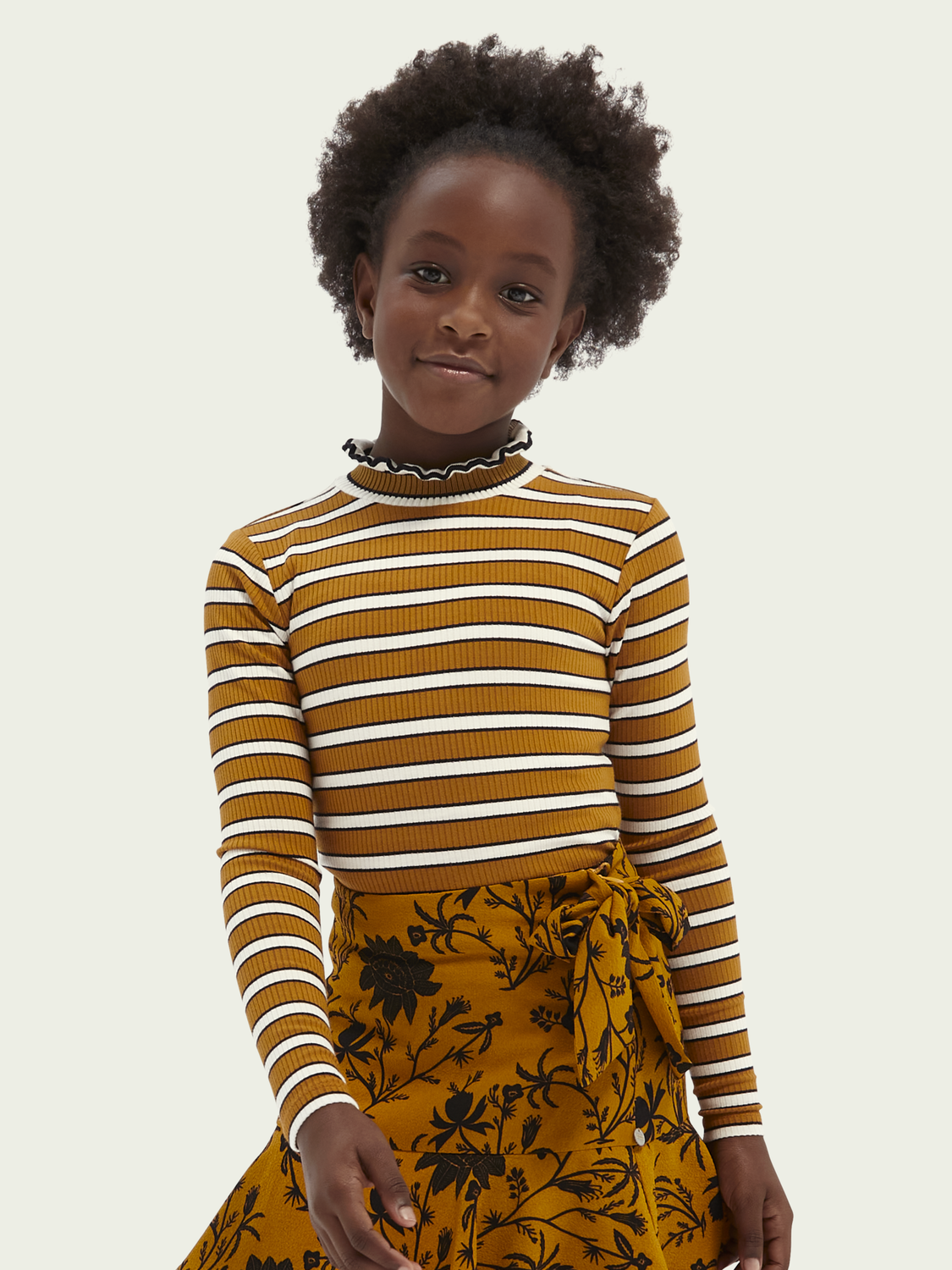 Kids Curled collar long-sleeved rib T-shirt