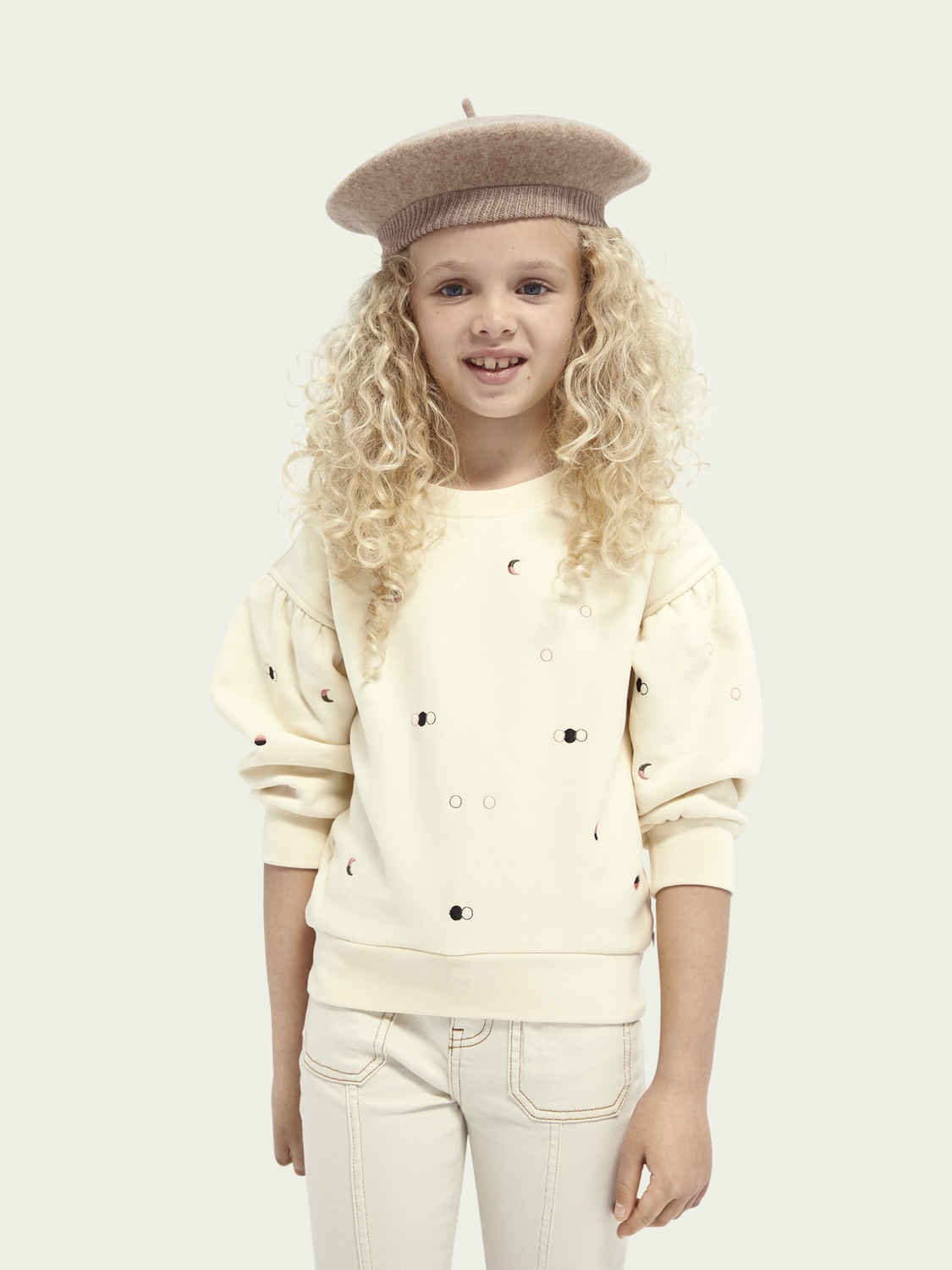 Kids Embroidered balloon sleeved sweater