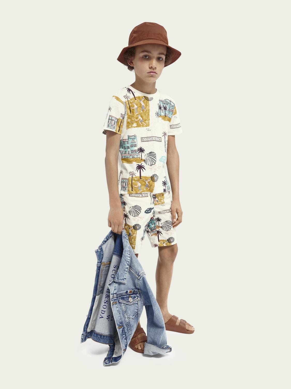 Kinder T-Shirt aus Hanf- und Bio-Baumwollmischung mit Allover-Print