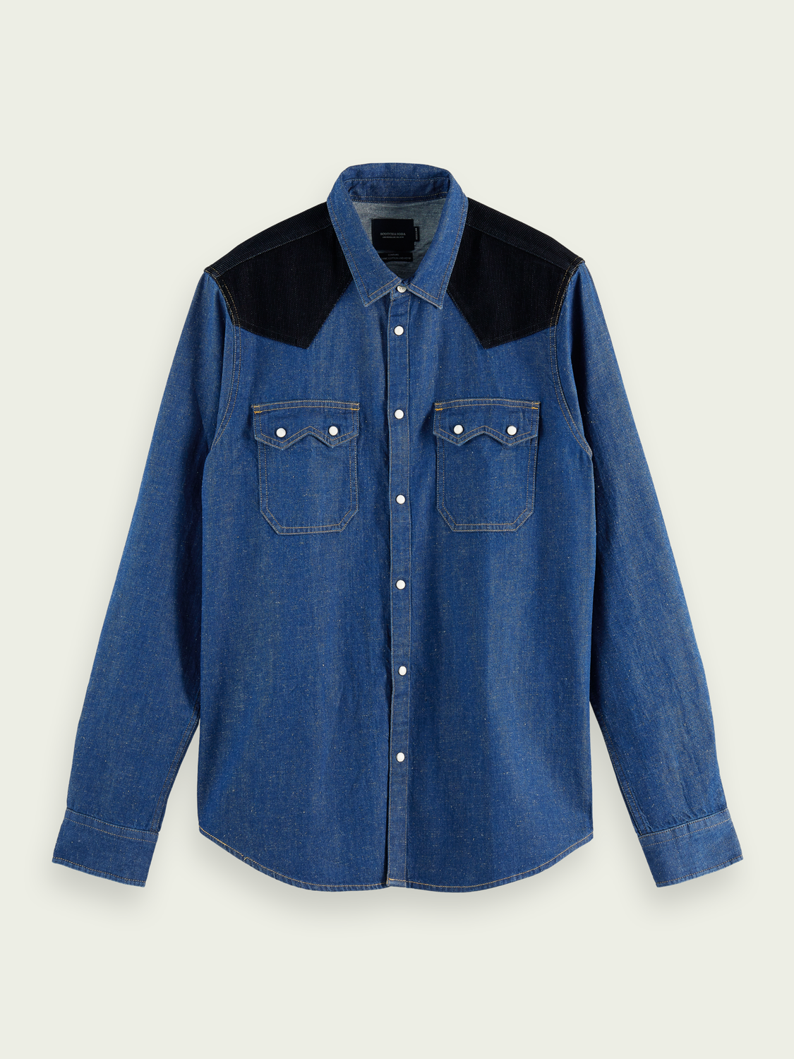 Men Western-style hemp-blend denim shirt