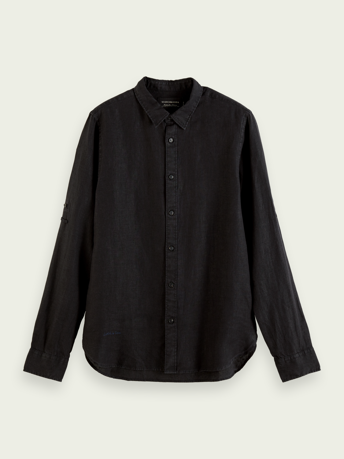 Men Garment-dyed linen shirt
