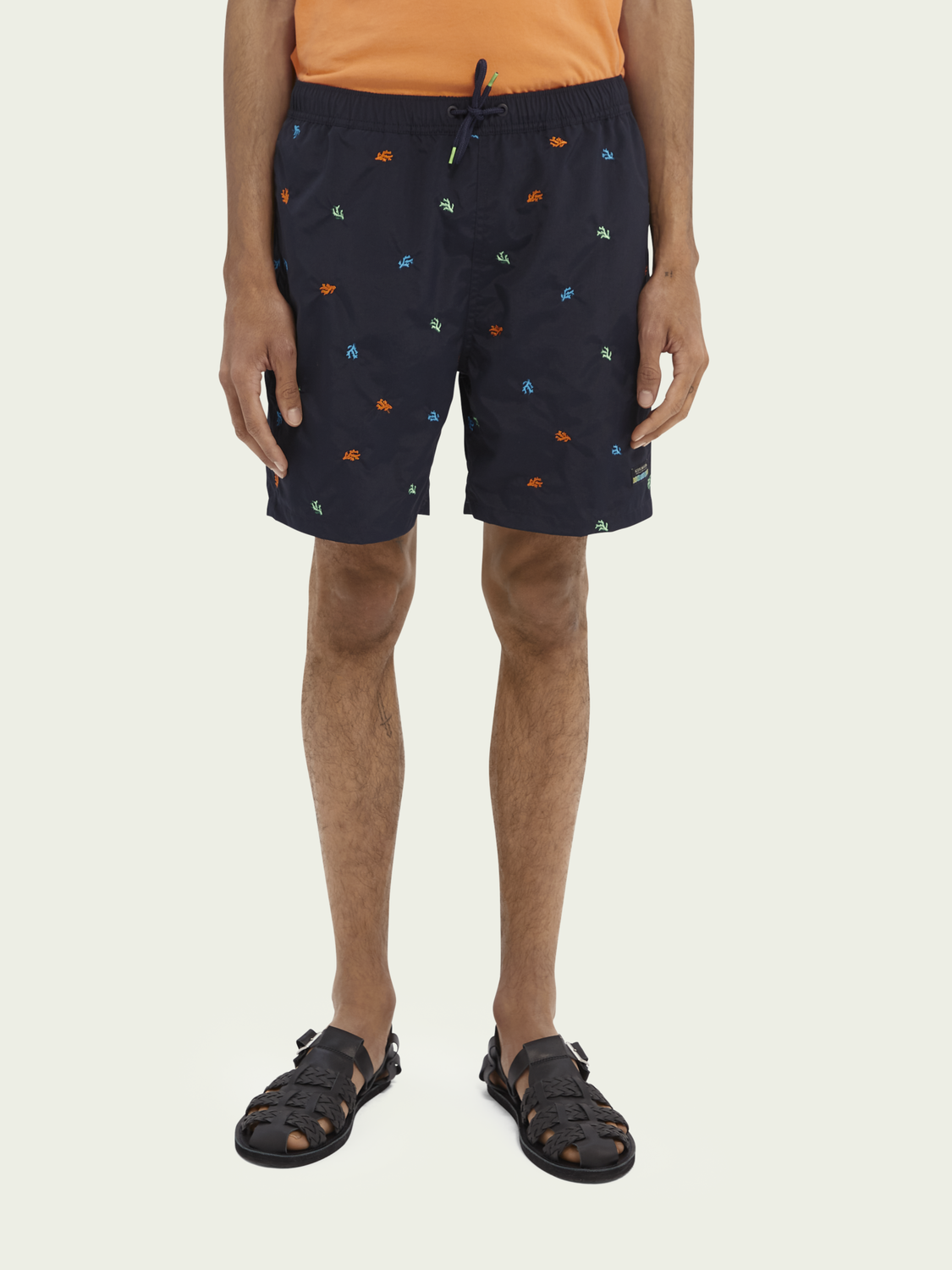 Men Embroidered mid-length swim shorts