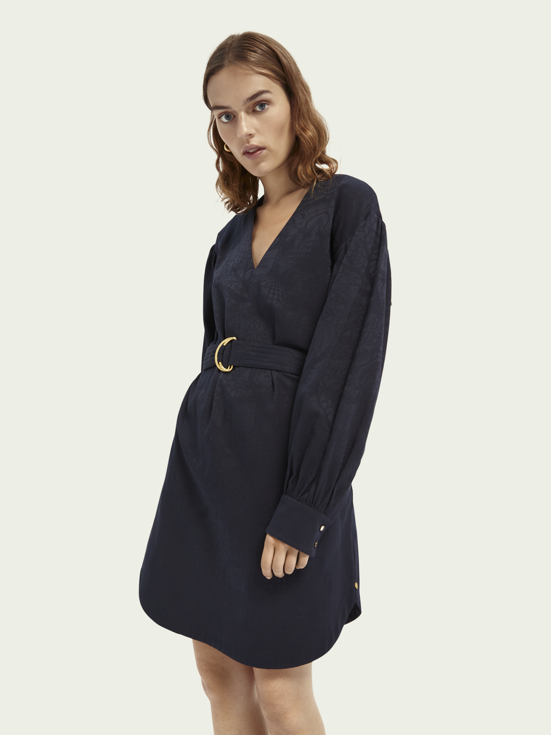 Women Long-sleeved jacquard midi dress