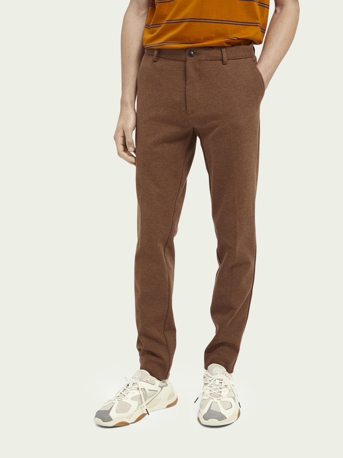 Men Mott super-slim knitted cotton-blend chinos