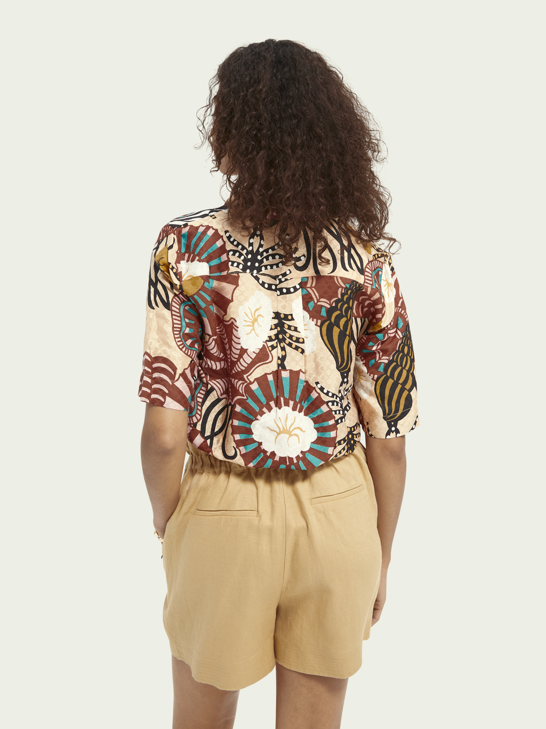 Women Hawaii shirt in printed viscose jacquard