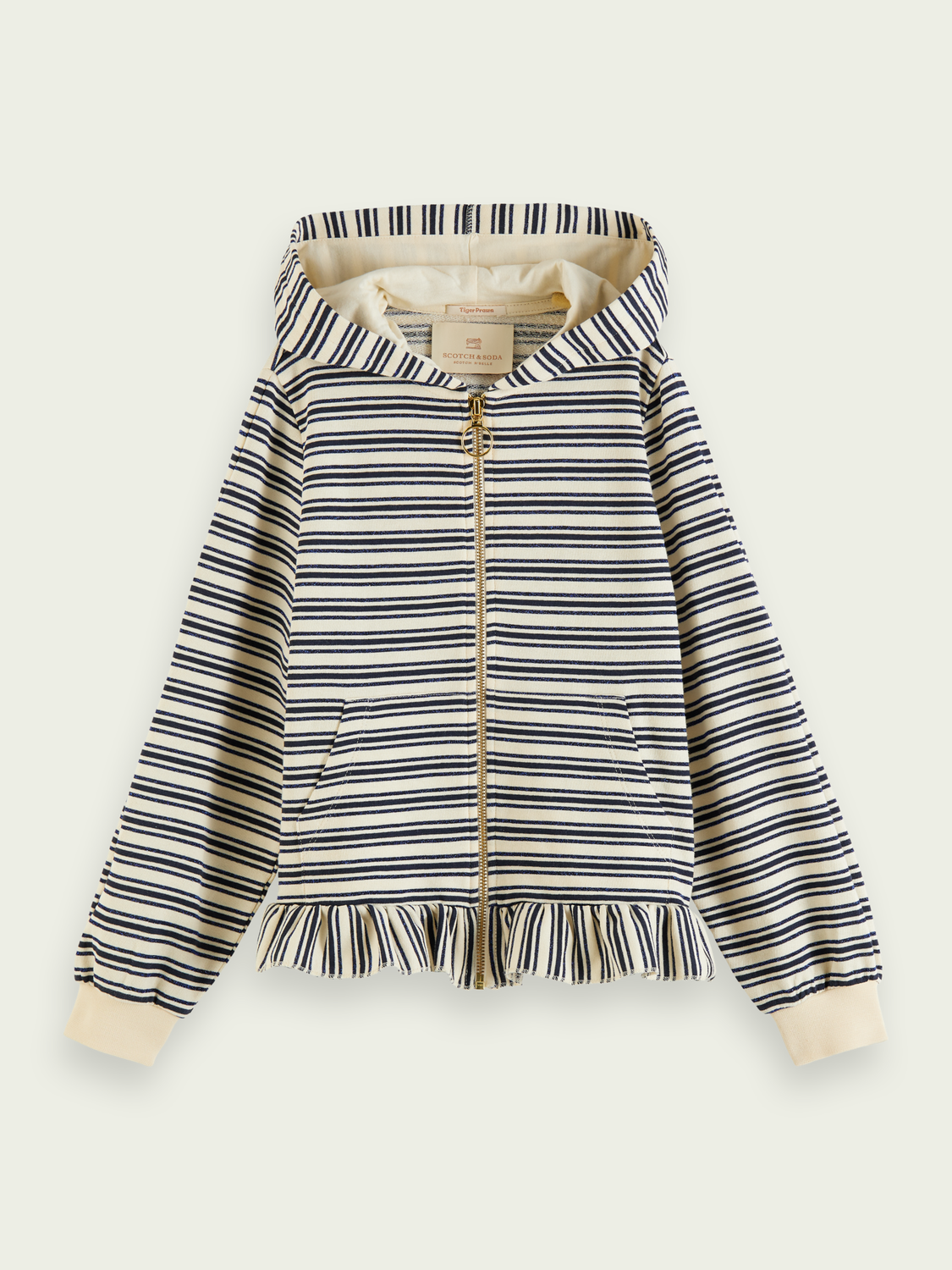 Kids Ruffle hem organic cotton-blend hoodie with metallic stripe