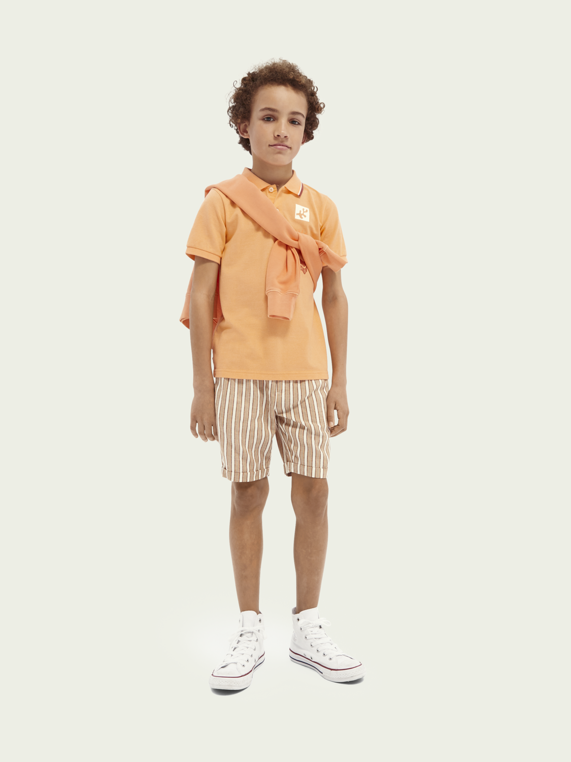 Kids Piped-collar cotton-blend polo