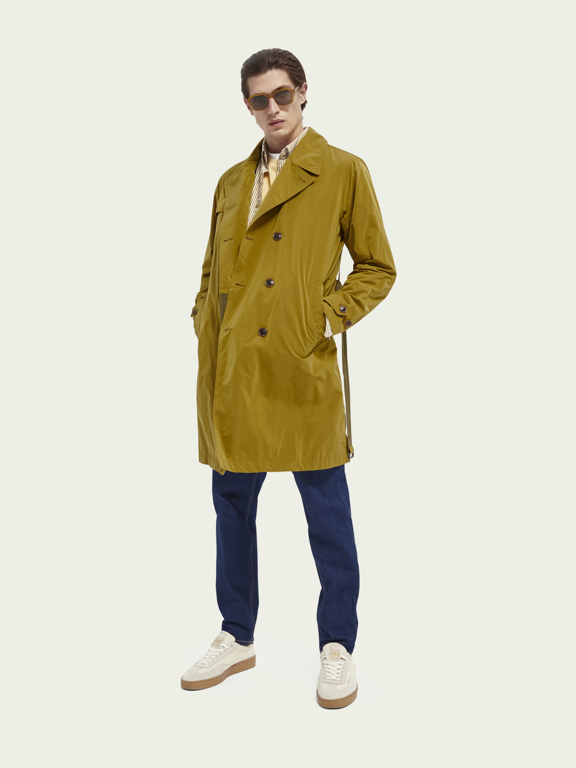 Men Double-breasted long trench coat