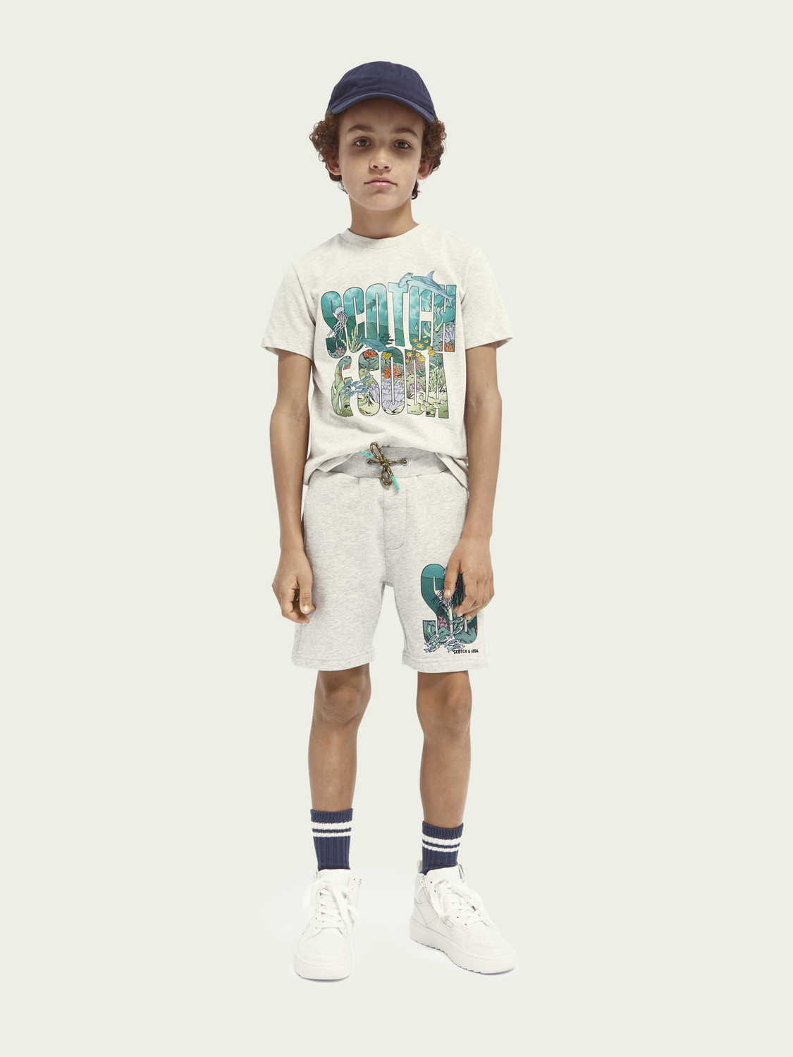 Kids Ocean-graphic cotton-blend T-shirt