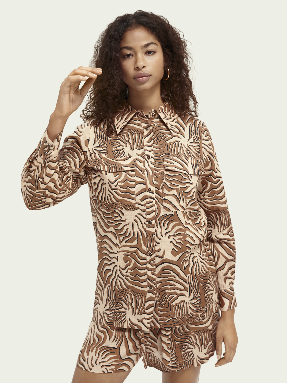 Dames Linnen blouse met knoopsluiting en print
