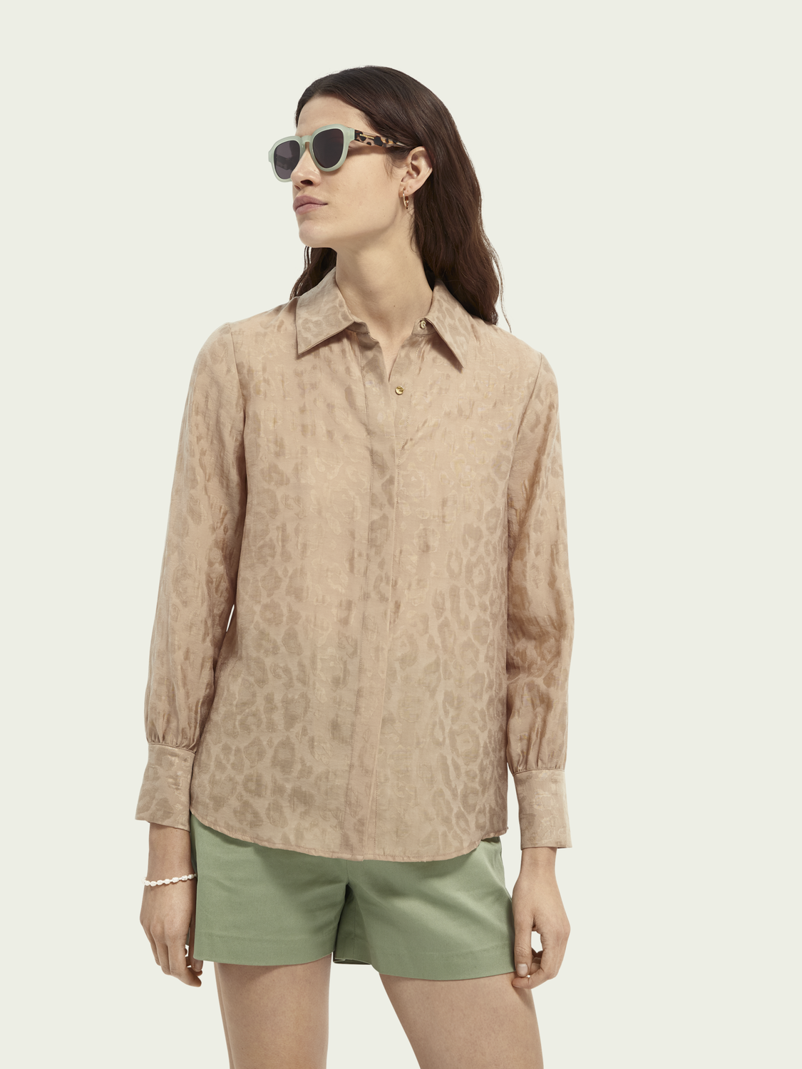Dames Regular fit blouse met jacquard dierenmotief