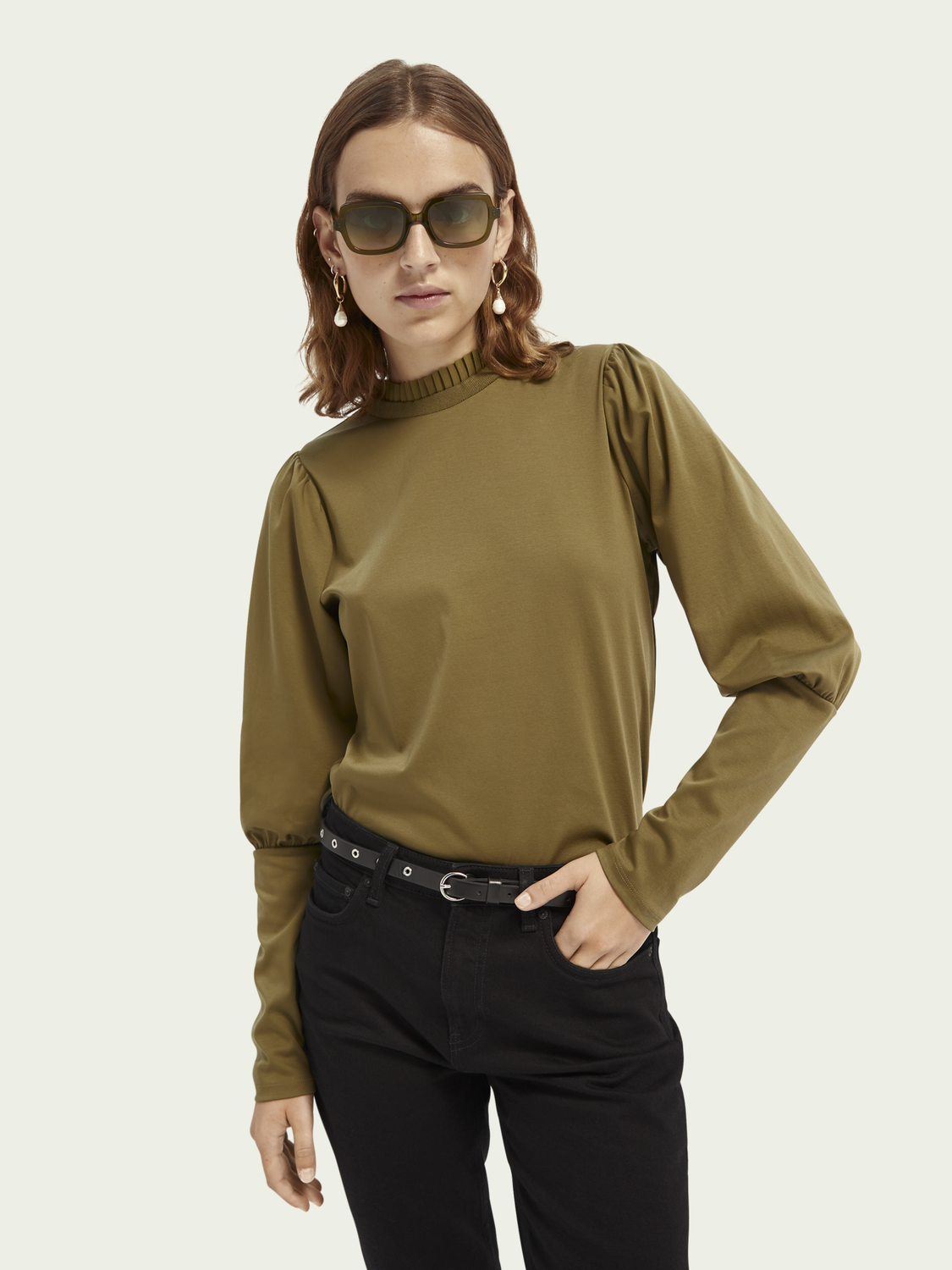 Women Ruffle-neck cotton top