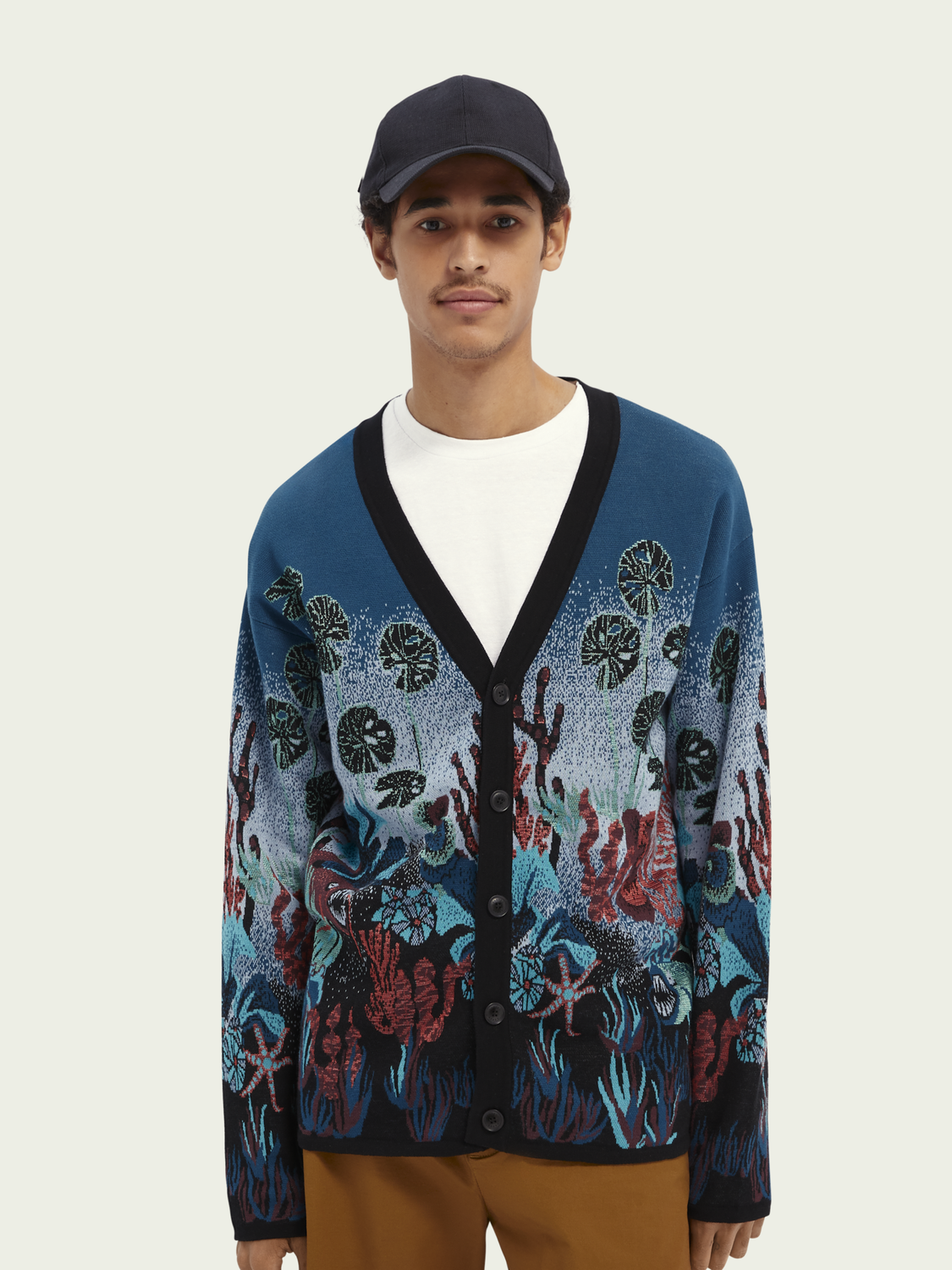 Men Jacquard insert cotton-blend cardigan