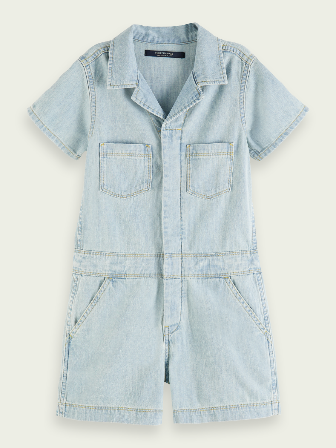 Kids Washed denim short jumpsuit