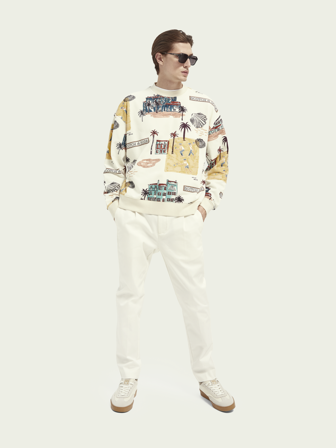 Men Printed crew-neck cotton sweatshirt