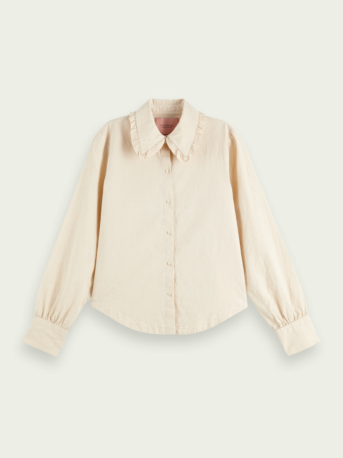 Women Ruffled cotton and linen-blend shirt