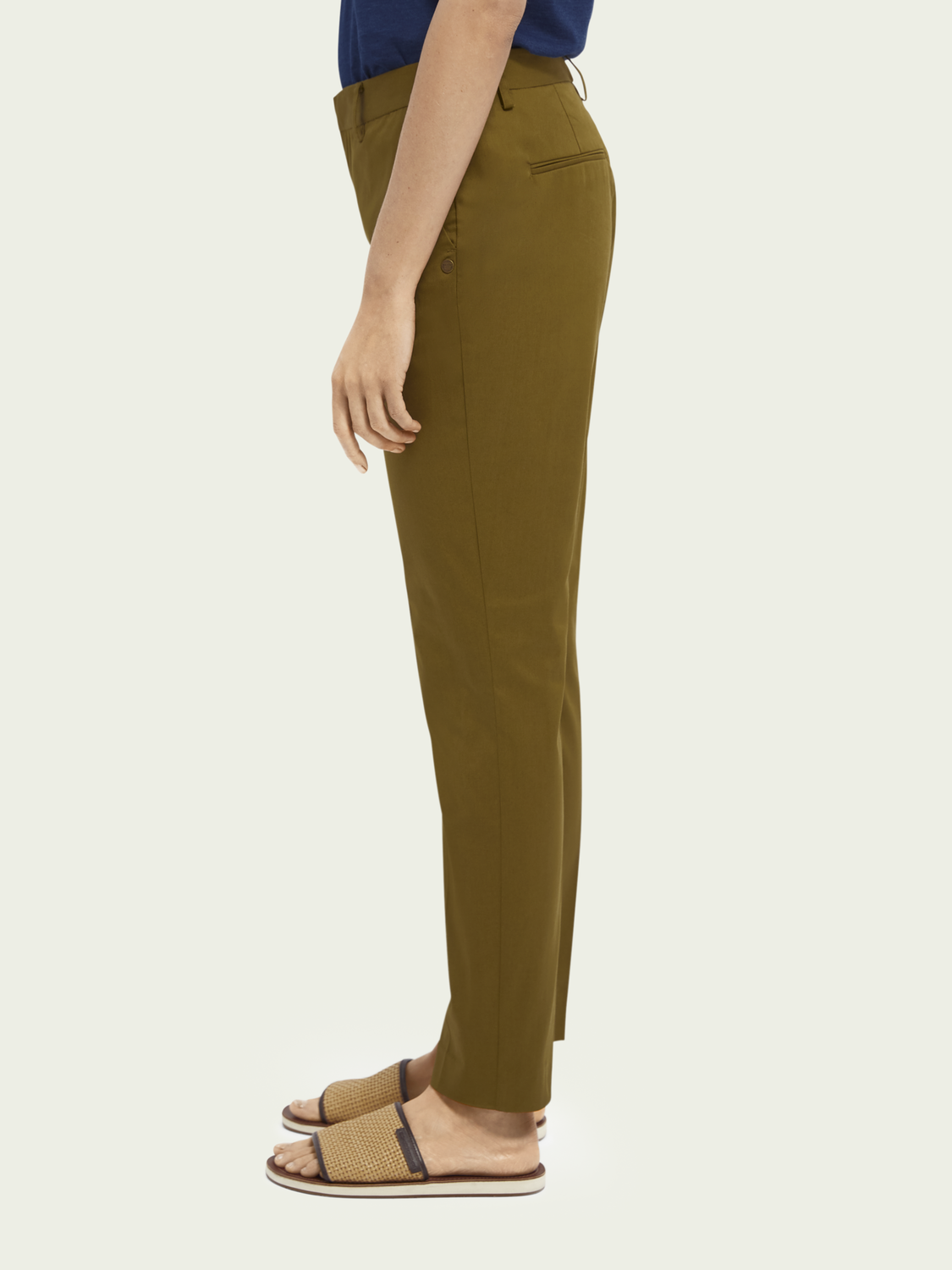 Women Bell slim-fit mid-rise stretch organic cotton chinos