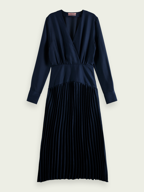 Scotch & Soda PLEATED V-NECK MIDI DRESS