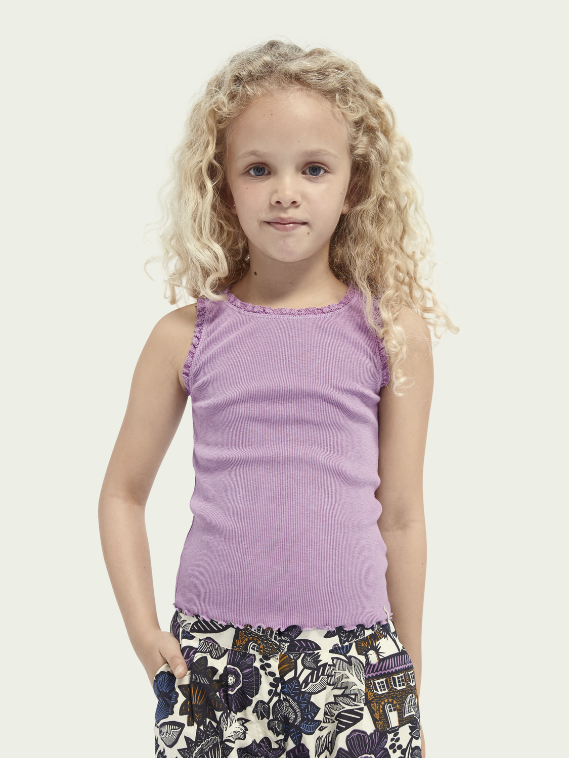 Kids Lace edged organic cotton tank top