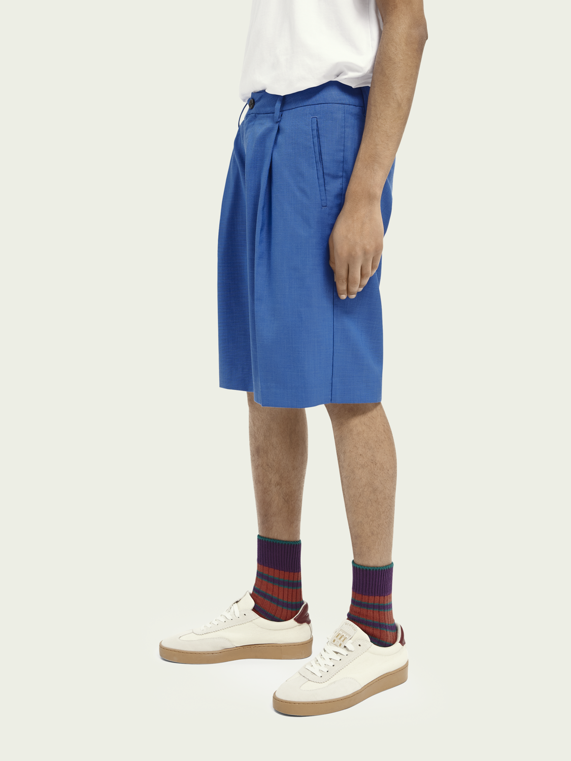 Men Pleated bright melange Bermuda short