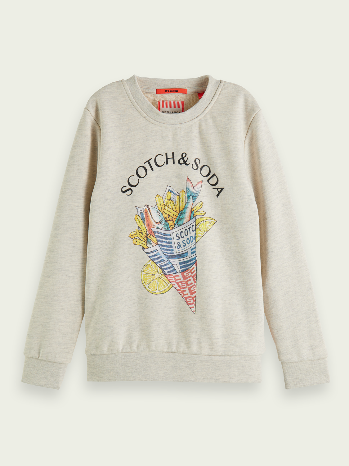"Kinder Baumwoll-Sweatshirt mit ""Fish and Chips""-Artwork"