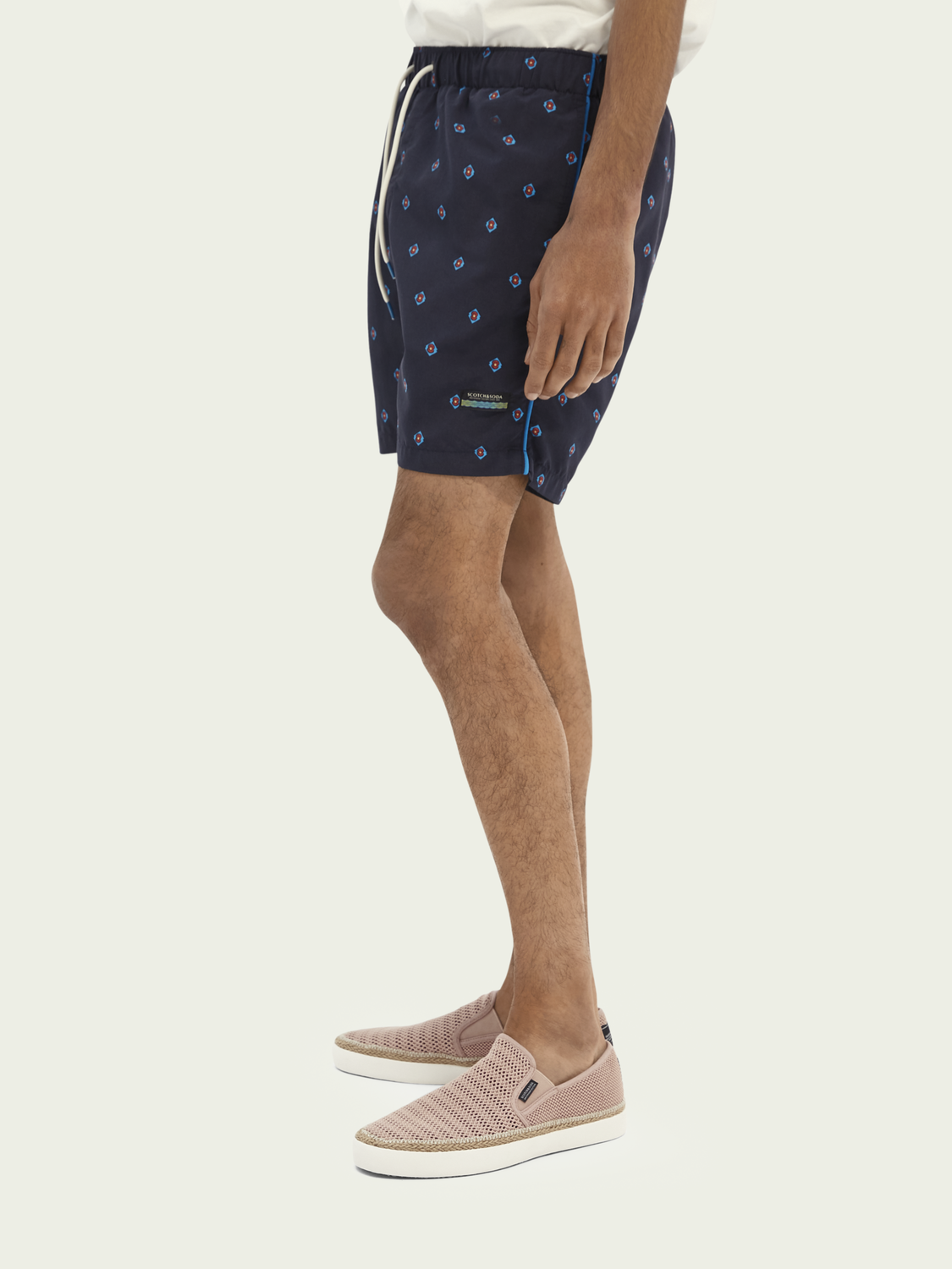 Men Printed mid-length swim shorts