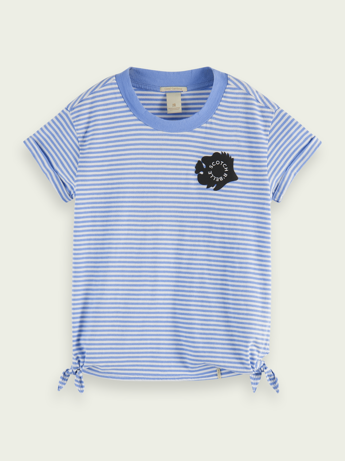 Kids Short-sleeved side knot organic cotton T-shirt