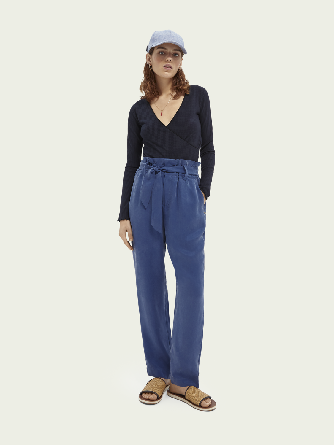Women High-rise waist tie trousers - Ocean blue