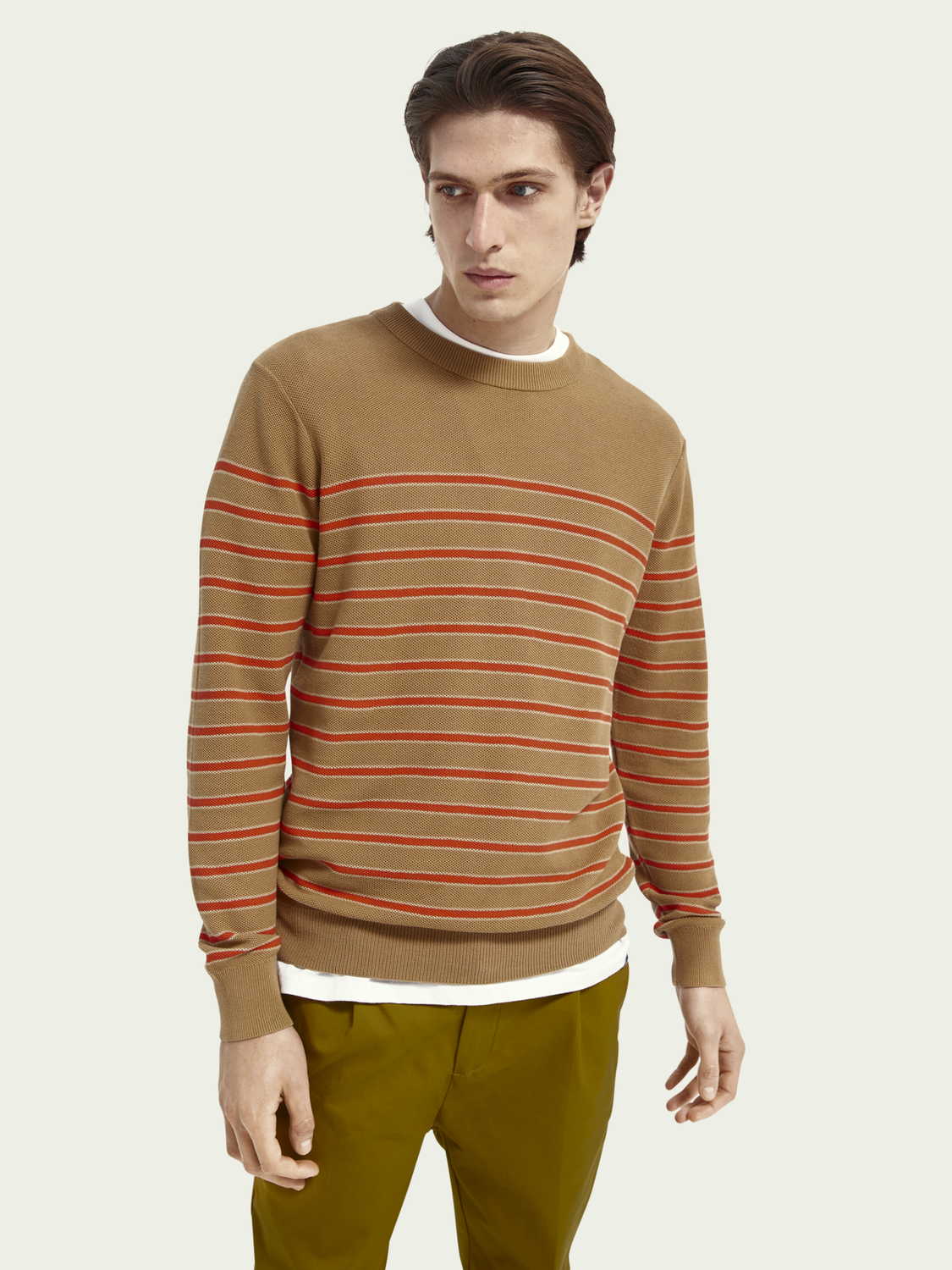 Men crewneck structured knit sweater