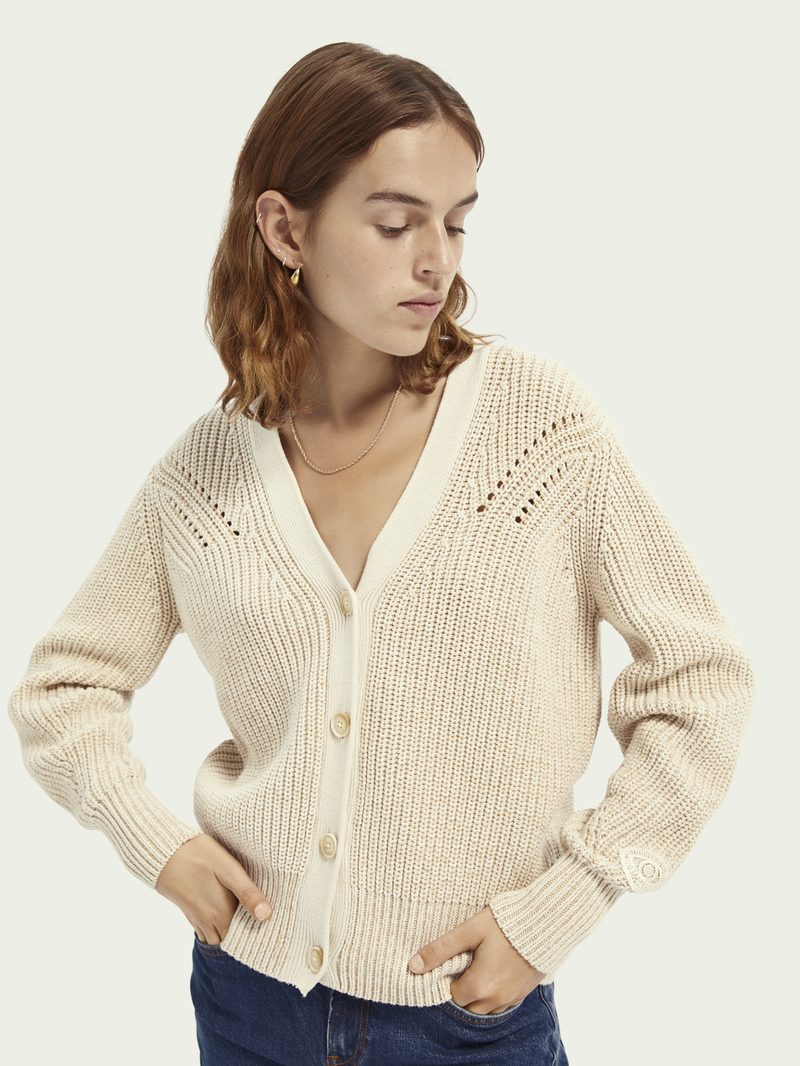 Women Two-tone rib-knit cardigan