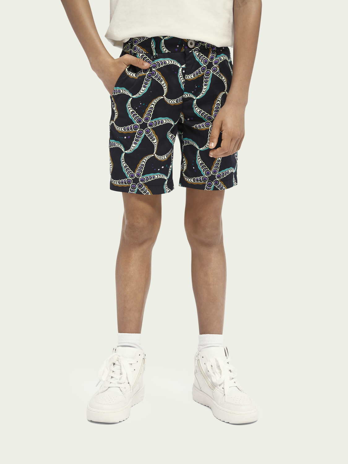 Kids Starfish-print cotton-blend chino shorts