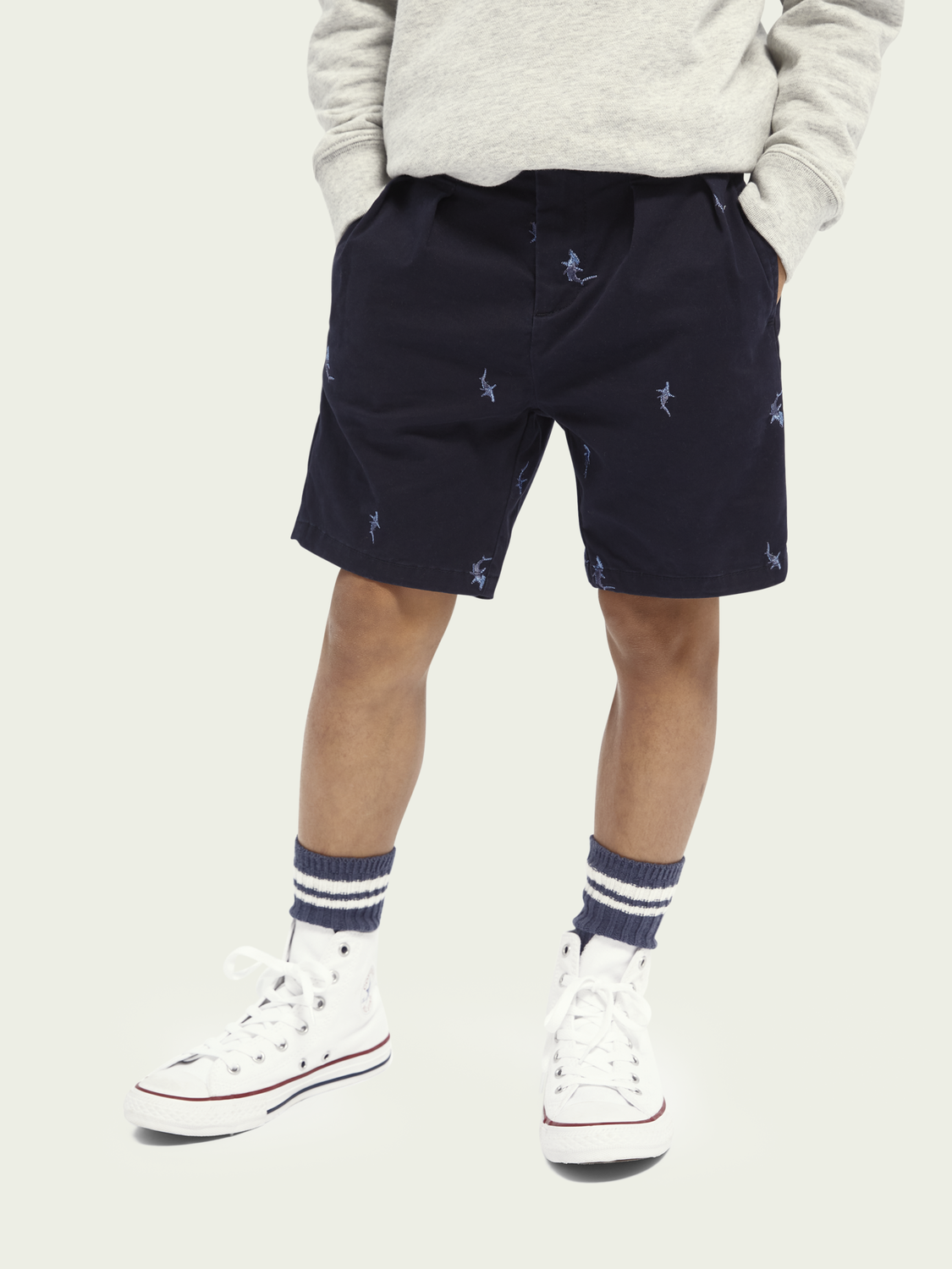 Kids All-over embroidery cotton shorts
