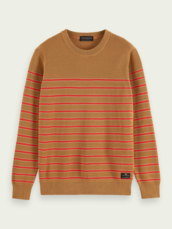 Homme Pull en tricot structuré à col ras-du-cou